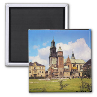 View of Wawel Cathedral 2 Inch Square Magnet