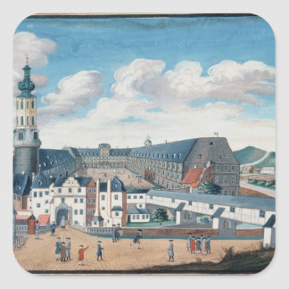 View of Weimar with the Castle of Wilhelmsburg Square Sticker