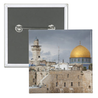 View of Western Wall Plaza, late afternoon 2 2 Inch Square Button