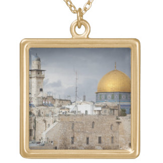 View of Western Wall Plaza, late afternoon 2 Gold Plated Necklace
