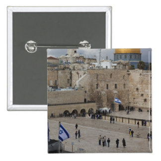 View of Western Wall Plaza, late afternoon 2 Inch Square Button