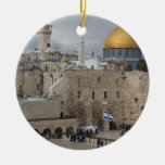 View of Western Wall Plaza, late afternoon Double-Sided Ceramic Round Christmas Ornament