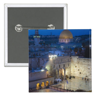 View of Western Wall Plaza, late evening 2 Inch Square Button