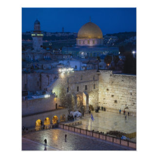 View of Western Wall Plaza late evening Poster