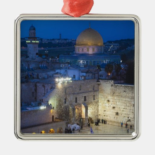 View of Western Wall Plaza, late evening Square Metal Christmas Ornament