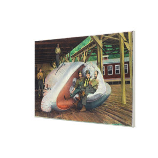 View of Whale Hunters Reclining on Whale Canvas Print
