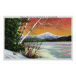View of Whiteface Mountain from the Lake in Poster