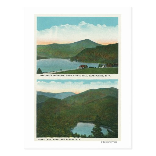 View of Whiteface Mt from Signal Hill, Heart Postcard