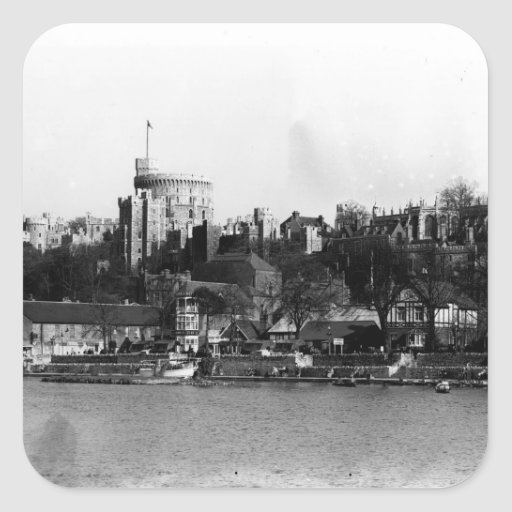 View of Windsor Castle, across the River Thames Square Stickers
