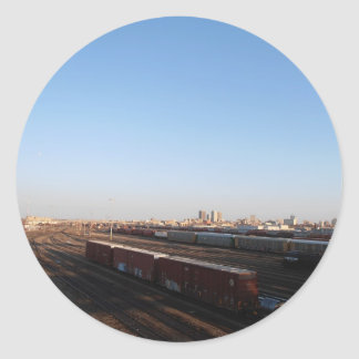 View of Winnipeg & Train Yard Classic Round Sticker