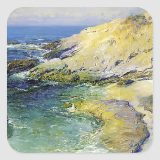 View of Wood's Cove by Guy Rose Square Sticker