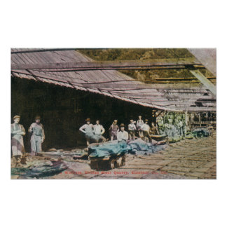 View of Workers at Eureka Slate Quarry Posters