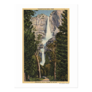 View of Yosemite Falls & Valley Postcard