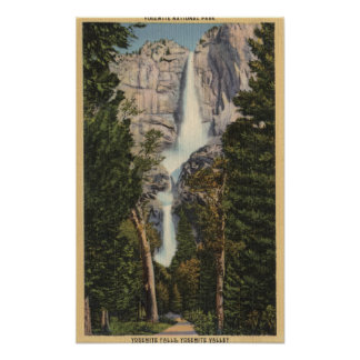 View of Yosemite Falls & Valley Poster