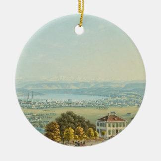 View of Zurich, c.1840 (w/c) Ceramic Ornament