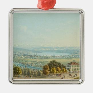 View of Zurich, c.1840 (w/c) Metal Ornament