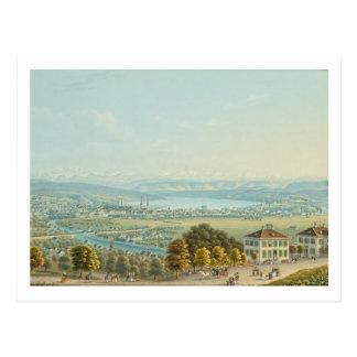 View of Zurich c 1840 w c Post Card
