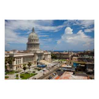 View on a building of Capitol in Havana, Cuba Poster