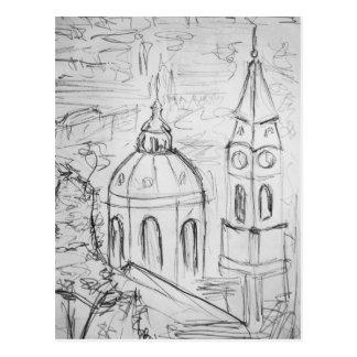 View on a city postcard