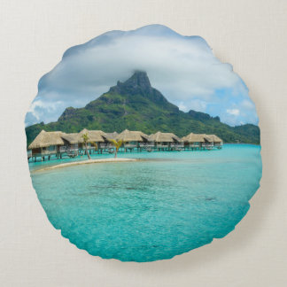 View on Bora Bora island round pillow