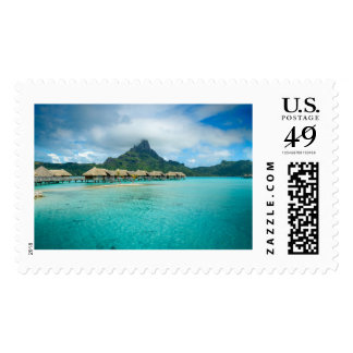 View on Bora Bora island stamp