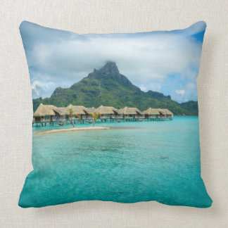 View on Bora Bora island throw pillow