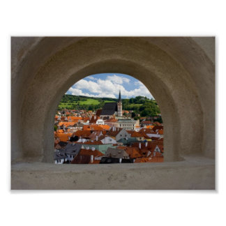 View On Cesky Krumlov Town From The Castle Poster