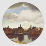 View On Delft, The  By Johannes Vermeer (Best Qual Round Sticker