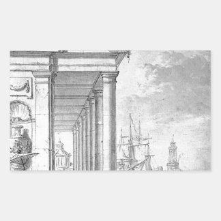 View on mediterrian port by Abraham van Strij Rectangular Sticker