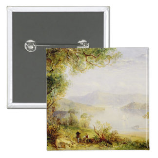 View on the Hudson River, c.1840-45 (oil on panel) Pinback Button