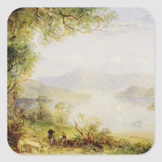 View on the Hudson River, c.1840-45 (oil on panel) Square Sticker