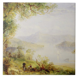 View on the Hudson River, c.1840-45 (oil on panel) Tile