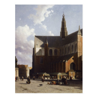 View on the market of Haarlem Sun by Johan Hendrik Postcard