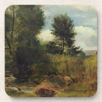 View on the River Sid, near Sidmouth, c.1852 (oil Beverage Coaster