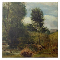 View on the River Sid, near Sidmouth, c.1852 (oil Ceramic Tile