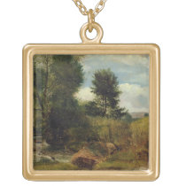 View on the River Sid, near Sidmouth, c.1852 (oil Gold Plated Necklace