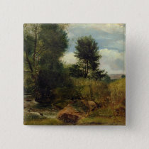 View on the River Sid, near Sidmouth, c.1852 (oil Pinback Button