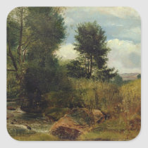 View on the River Sid, near Sidmouth, c.1852 (oil Square Sticker