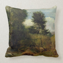 View on the River Sid, near Sidmouth, c.1852 (oil Throw Pillow