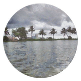 View over a lake dinner plate