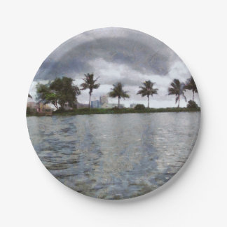 View over a lake paper plate