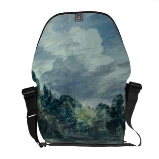 View over a wide landscape, with trees in the fore courier bag