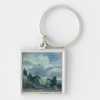 View over a wide landscape, with trees in the fore keychain
