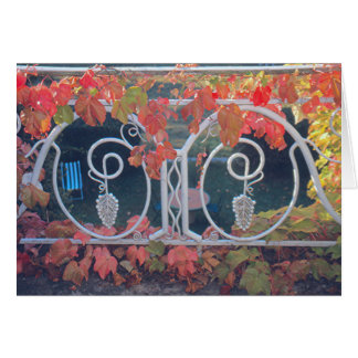 """VIEW OVER GRASSY LAWN FROM  WROUGHT-IRON BALCONY"" CARD"