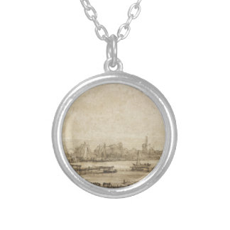 View over the Amstel from the Rampart by Rembrandt Silver Plated Necklace