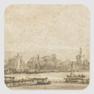 View over the Amstel from the Rampart by Rembrandt Square Sticker