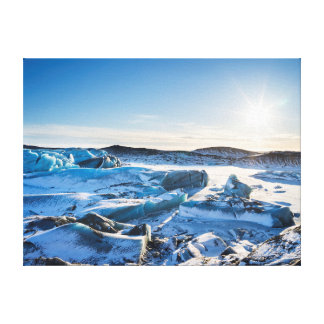 View over the frozen glacial lake canvas print