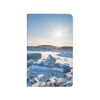 View over the frozen glacial lake journal