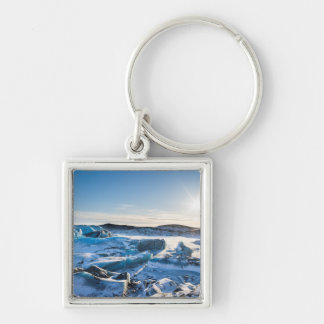 View over the frozen glacial lake keychain