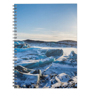 View over the frozen glacial lake spiral notebook